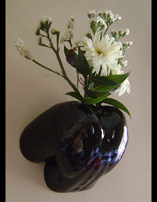 Floralabia nude female wall mounted erotic vase in black
