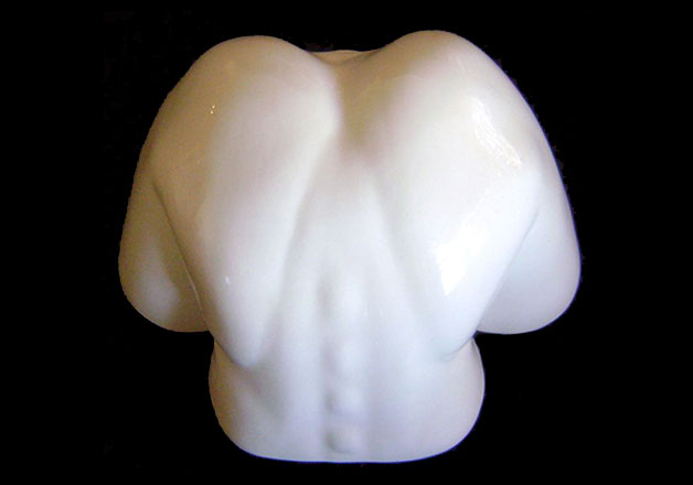 Nude Female Torso Sculpture / Wall Mounted Candle Holder / Erotic Vase view 3